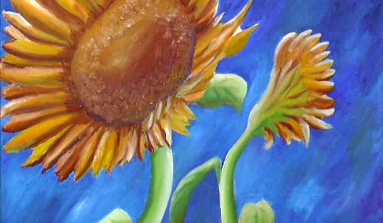 Zonnebloemen schilderen