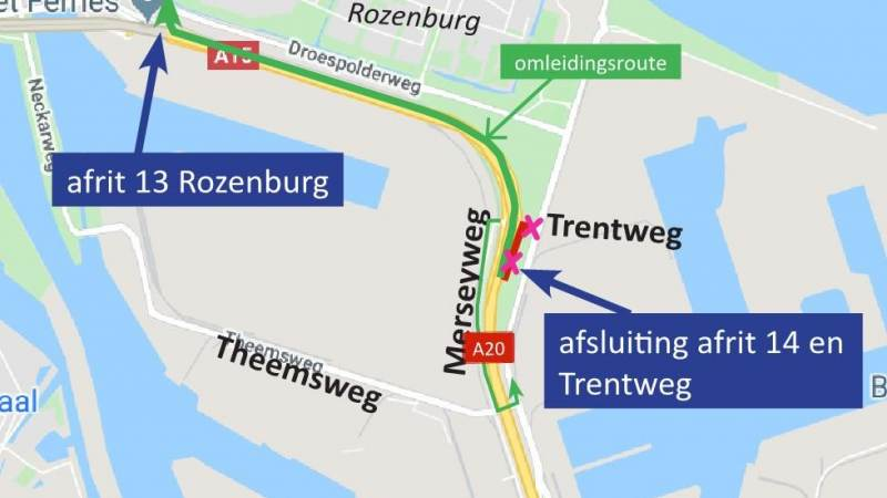 Afsluiting afrit 14 Rozenburg Centrum/Trentweg