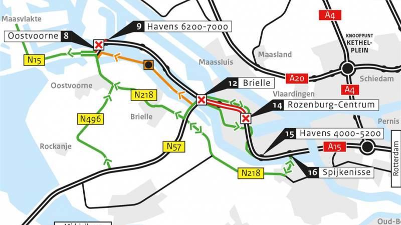 Afsluitingen A15 bij Rozenburg en Suurhoffbrug